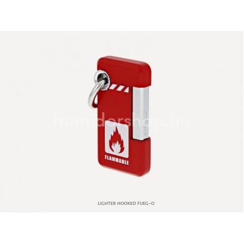 S.T. Dupont Hooked FUEG-O öngyújtó, vigyázat gyúlékony felirattal - piros és króm