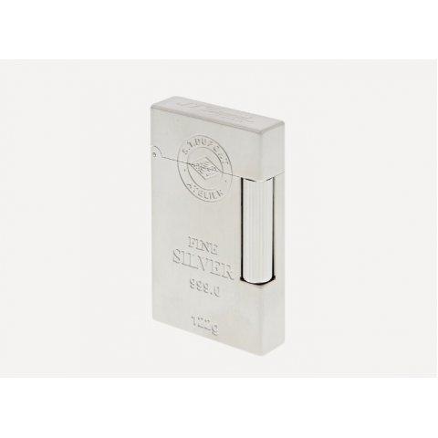 S.T. Dupont Line 2 Ingot Fine Silver szivargyújtó, szál csiszolt palládium , ezüst rúd mintával