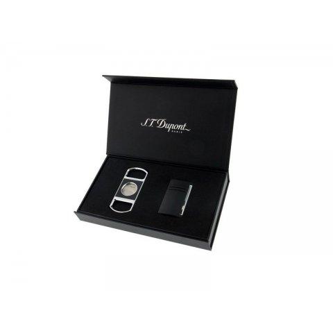 S.T. Dupont MaxiJet ajándék szett szivargyújtó és szivarvágó - fekete