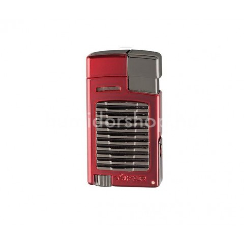 Xikar Forte Daytona Red szúró lángos szivar öngyújtó kihajtható 7mm-es szivarfúróval  - vörös/szürke