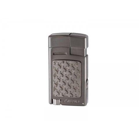 Xikar Forte Soft Flame Gunmetal Houndstooth szivar öngyújtó kihajtható 7mm-es szivarfúróval - sötét szürke