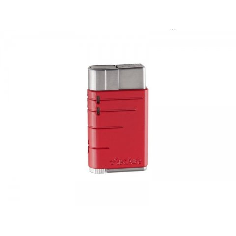 Xikar Linea Riot Red szivargyújtó, 1-es szúrólánggal újra tölthető - króm/piros