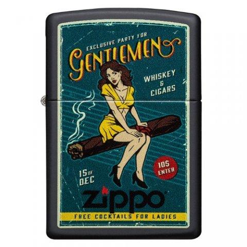Benzines Zippo öngyújtó - Cigar Girl - nemesacélból