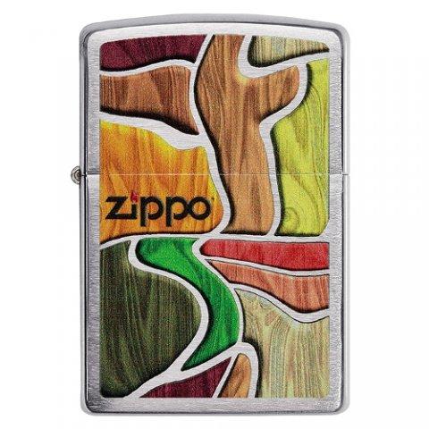 Benzines Zippo öngyújtó  -  Színes fa mintás, Zippo logoval