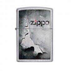 Benzines Zippo öngyújtó  -  tépett lemez mintás, Zippo logoval