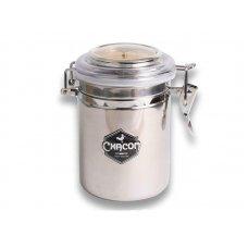 Chacom aromazárós pipadohány tartó nemesacélból, páratartalom mérővel és dohány nedvesítőkővel - 15cm