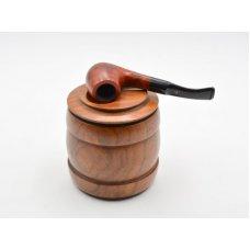 Hordó formájú dohány tartó, barna szezámfa - Pipatartóval