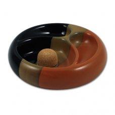 Dekoratív kerek pipás hamutartó 2 pipának kerámiából, fekete/barna