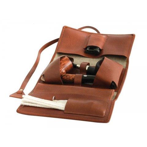 Chacom bőr pipatáska barna és bézs színű külső vászon borítással  - 2 pipa számára