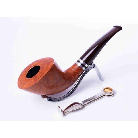 Cesare Barontini Grazia hanga gyökér pipa, világos barna színű 9mm filteres, dupla fém gyűrűvel - dublin