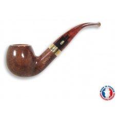 Chacom Churchill 184, világos barna színű polírozott hanga gyökér pipa hajlított akril szárral és réz gyűrűvel