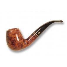Chacom Club 851, barna színű polírozott hanga gyökér pipa hajlitott akril szárral dupla réz gyűrűvel, 9mm filteres