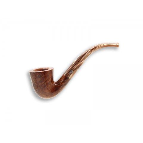 Chacom Nougat 102, világos barna színű polírozott hanga gyökér pipa hajlított akril szárral, filter nélküli