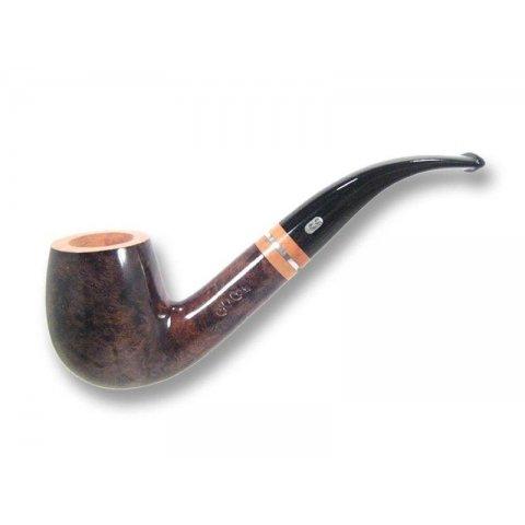 Chacom Elysées 43, sötétbarna színű polírozott hanga gyökér pipa hajlított akril szárral és 9mm filterrel