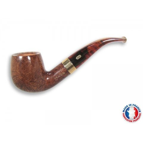 Chacom Churchill 268, világos barna színű polírozott hanga gyökér pipa hajlított akril szárral és réz gyűrűvel