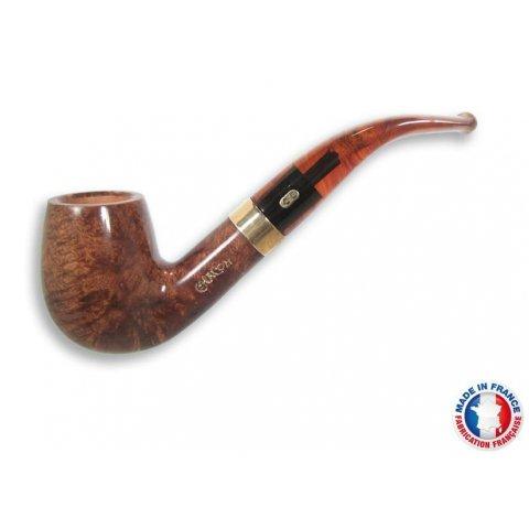 Chacom Churchill 42, világos barna színű polírozott hanga gyökér pipa hajlított akril szárral és réz gyűrűvel