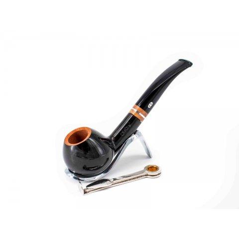 Chacom Elysées 871, sötétbarna színű polírozott hanga gyökér pipa enyhén hajlított akril szárral és 9mm filterrel