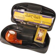 Jean Claude pipás szett, tajték betétes 9mm filteres hajlított pipával, pipatáskával és 3 részes pipa tömködővel