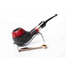 Lorenzo Spitfire Cesar Ring Red 1, bruyer gyökér pipa, bordó és fekete színű rusztikolt 9mm filter, Army