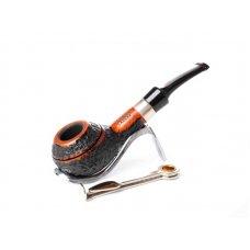 Lorenzo Spitfire Cesar Ring Rustic, kis méretű bruyer gyökér pipa, barna és fekete színű rusztikolt 9mm filter, Army