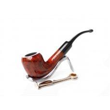Lorenzo Manola 601-3 bruyer gyökér pipa polírozott vöröses barna színű 9mm filter, enyhén hajlított nyerges szopokával