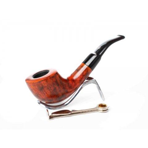 Lorenzo Manola 604 Brown bruyer gyökér pipa polírozott vöröses barna színű 9mm filter, enyhén hajlított nyerges szopokával