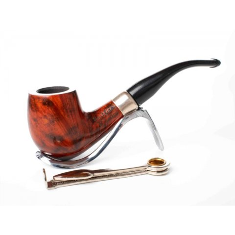 Lorenzo Spitfire Royal Stromboli 2, polírozott barna színű hanga gyökér pipa, 9mm filterrel, enyhén hajlított