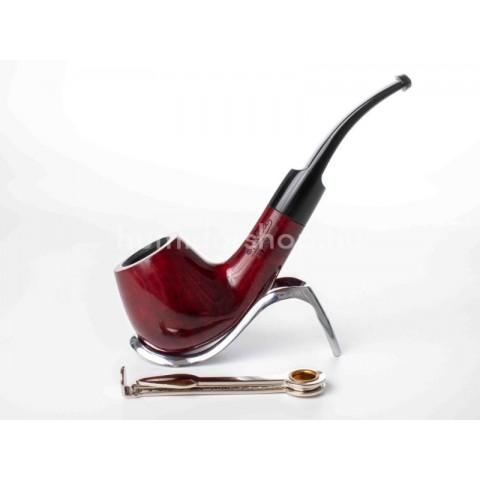 Lorenzo Serena Big 1 Red, bordó színű polírozott hanga gyökér pipa, 9mm filterrel, nyerges szopokával
