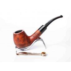 Lorenzo Spitfire Serena Big 2, vöröses barna színű hanga gyökér pipa, 9mm filterrel, nyerges szopokával