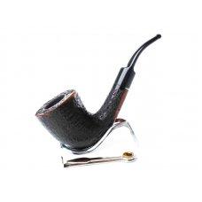 Lorenzo Titano Rustic Nero 2 rusztikolt fekete színű hanga gyökér pipa 9mm filter, hajlított szopokával