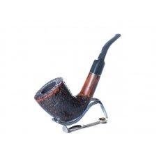 Lorenzo Titano 3/2 rusztikolt barna színű hanga gyökér pipa 9mm filter, hajlított szopokával