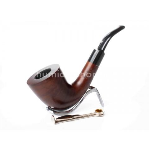 Lorenzo Titano Walnut-8704, matt gesztenye barna színű hanga gyökér pipa 9mm filter, hajlított szopókával