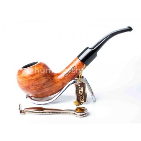 Lorenzo VIP Natural hanga gyökér pipa barna színű 9mm filter, enyhén hajlított nyerges akril szopókával - apple