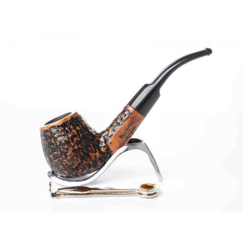 Lorenzo Viva Pal világos barna és fekete színű rusztikolt pipa, 9mm filter, hajlított nyerges szopókával