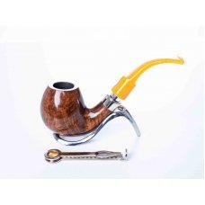 Mastro de Paya Ciocco D05 barna színű pipa, bruyer gyökérből hajlított szárral 9mm filteres - bent