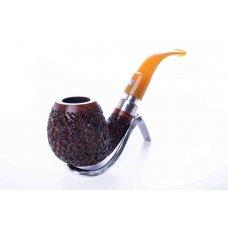 Mastro de Paya Ciocco R05 rusztikolt hajlított szárú pipa, bruyer gyökérből 9mm filteres - bent