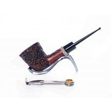Mastro de Paya Per Amici barna színű rusztikolt pipa egyenes szárral, bruyere gyökérből - 9mm filter, dublin