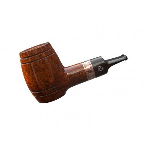 Rattray s Devils Cut Terracotta bruyer gyökér pipa, whiskyes hordó formájú 9mm filterrel - réz gyűrűvel