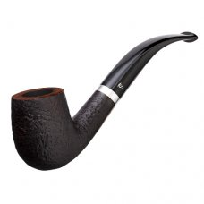 Stanwell Relief 246 Sandblast, fekete színű homokfúvott briar pipa 9mm filteres - alumínium gyűrűvel