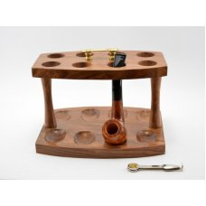 Rézfogantyús pipatartó 8 pipa számára, barna szezám-fából