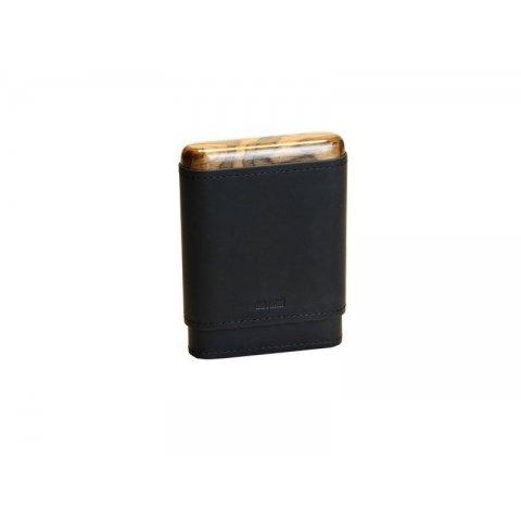 Adorini szivartok valódi bőrből 3-5 szivar tárolásársa - fekete - fa berakással