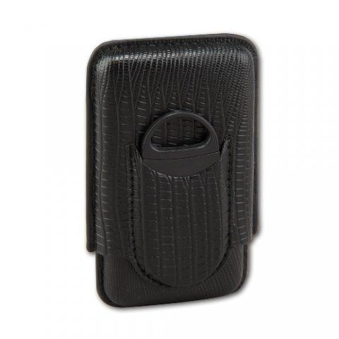Szivartok 3 szivar számára fekete mintás műbőr, szivarvágóval - 14.5cm