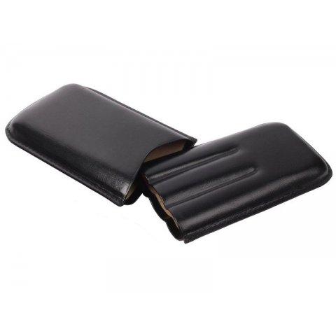 Klasszikus szivartok - 3 szivar részére, fekete bőr, 15cm - Padonio