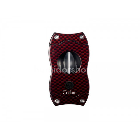 Colibri Red Carbon V-Cut, nemesacél pengéjű ék szivarvágó 23mm - vörös