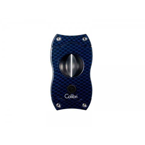 Colibri Blue Carbon V-Cut, nemesacél pengéjű ék szivarvágó 23mm - kék