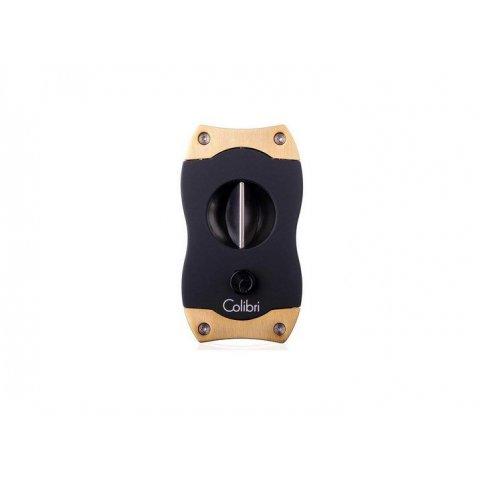Colibri V-Cut Brushed Gold, nemesacél pengéjü ék szivar vágó 23mm - szálcsiszolt arany
