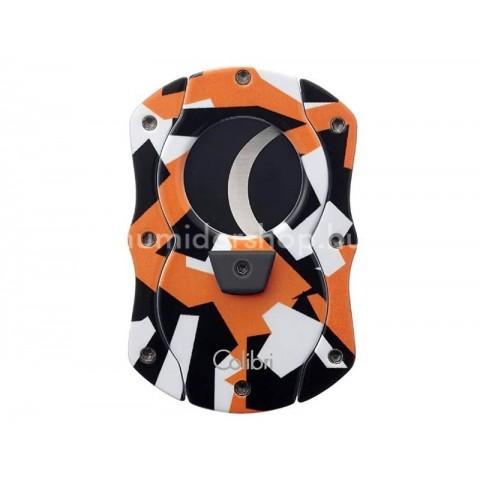 Colibri Camo Orange pillangó szivarvágó, narancssárga színű terepmintás, tapadás mentes nemesacél pengével - 25mm