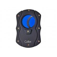 Colibri Cut fekete pillangó szivarvágó, kék színű tapadás mentes nemesacél pengével - 25mm
