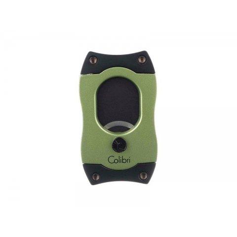 Colibri S-Cut Green, fekete színű nemesacél pengéjü guillotine szivarvágó 26mm - zöld